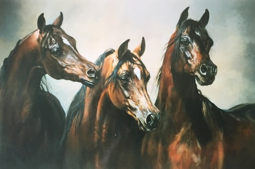 Painting of three arab horses